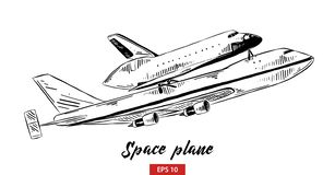 Hand drawn sketch of space plane in black isolated on white background. Detailed vintage etching style drawing. vector illustration
