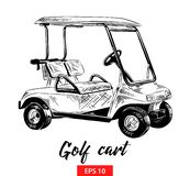Hand drawn sketch of golf cart in black isolated on white background. Detailed vintage etching style drawing. vector illustration