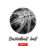 Hand drawn sketch of basketball ball in black isolated on white background. Detailed vintage etching style drawing. stock illustration