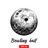 Hand drawn sketch of bowling ball in black isolated on white background. Detailed vintage etching style drawing. stock illustration