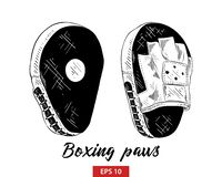 Hand drawn sketch of boxing training paws in black isolated on white background. Detailed vintage etching style drawing. royalty free illustration