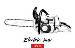 Hand drawn sketch of electric saw tool in black isolated on white background. Detailed vintage etching style drawing. stock illustration