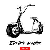 Hand drawn sketch of electric scooter in black isolated on white background. Detailed vintage etching style drawing. vector illustration
