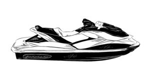 Hand drawn sketch of jet ski in black isolated on white background. Detailed vintage etching style drawing. stock illustration