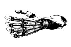 Hand drawn sketch of robotic arm in black isolated on white background. Detailed vintage etching style drawing. vector illustration