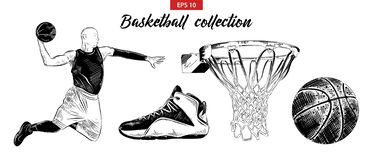 Hand drawn sketch set of basketball player, shoe, ball and basket isolated on white background. Detailed vintage etching drawing. royalty free illustration