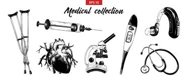 Hand drawn sketch set of medical equipment and elements isolated on white background. Detailed vintage etching drawing vector illustration