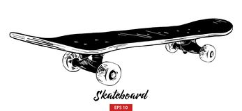 Hand drawn sketch of skateboard in black isolated on white background. Detailed vintage etching style drawing. vector illustration