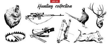 Vector engraved style illustrations for posters, logo, emblem and badge. Hand drawn sketch set of hunting sport equipment, weapon stock illustration