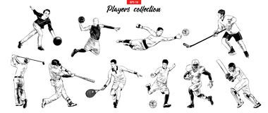 Vector engraved style illustrations for posters, logo, emblem and badge. Hand drawn sketch set of sport players stock illustration