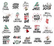 Hand drawn Merry Christmas and 2019 Happy New Year on white background. Detailed vintage etching drawing. Vector engraved style illustrations with typography and stock illustration