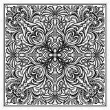 Vector engravery square ornament. Vector illustration of engraved squrea kerchief ornament Royalty Free Stock Photos