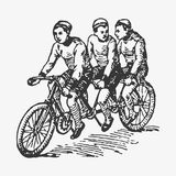 Vector Engraving Tandem Bike Stock Photos