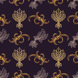 Vector engraving vintage seamless pattern. Vector various gold blackwork engraving vintage baroque floral ornament illustrations decoration seamless pattern dark Royalty Free Stock Photo
