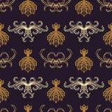Vector engraving vintage seamless pattern. Vector various gold blackwork engraving vintage baroque floral ornament illustrations decoration seamless pattern dark Stock Photos