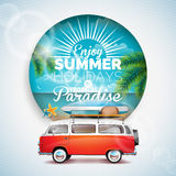 Vector Enjoy the Summer Holiday in tropical paradise typographic illustration on tropicat plants floral background. Blue sky and t Royalty Free Stock Photography