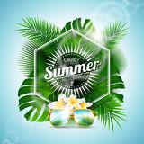 Vector Enjoy the Summer Holiday typographic illustration with tropical plants and flowers on light blue background. Royalty Free Stock Photography