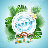 Vector Enjoy the Summer Holiday typographic illustration with tropical plants and seasons elements on light blue background. Stock Photography