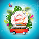 Vector Enjoy the Summer Holiday typographic illustration on white badge and floral background. Royalty Free Stock Images
