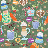 Vector Enjoy Winter collection. Set of winter holidays on colorful background. Seamless pattern with winter clothes, sweets, macar Royalty Free Stock Images