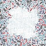 Vector enmarcar colorido con las notas musicales brillantes sobre el backg blanco Fotos de archivo