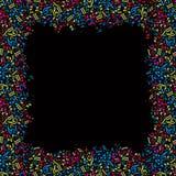 Vector enmarcar colorido con las notas musicales brillantes sobre un CCB negro Imágenes de archivo libres de regalías