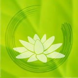 Vector enso Zen circle with lotus flower. Royalty Free Stock Images