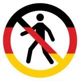 Vector entrada humana o ícone proibido do símbolo em cores da bandeira de Alemanha Imagem conceptual O governo alemão e povos con ilustração do vetor