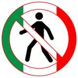 Vector entrada humana o ícone proibido do símbolo em cores italianas da bandeira Imagem conceptual O governo italiano e povos con ilustração do vetor
