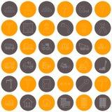 Vector Entwurfsbau Ikonen der Orange und Graukreise Stockbild