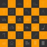 Vector Entwurfsbau Ikonen der Orange und Grauquadrate Stockbild