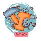 Vector Entwurfshandwerkzeugschablone für das Emailen oder Fahnen- oder subsriptionslieferung auf Werkzeugproduzentwebsite, Newsle lizenzfreie abbildung