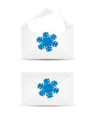 Vector envelope with Christmas snowflake  in white backg Stock Photo