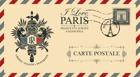 Vector envelope with french Coat of Arms. Vector envelope or postcard in retro style with French coat of arms, postmark in form of Eiffel tower and postage stamp stock illustration