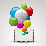 Vector envelope full of colorful bubbles Royalty Free Stock Photography