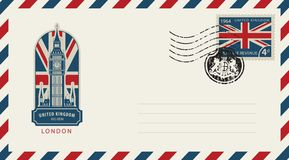Envelope with London Big Ben and flag of uk. Vector envelope with London Big Ben, a postage stamp with flag of United Kingdom and rubber stamp in form of royal Stock Photos