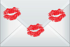 Vector envelope sealed with woman kisses. Vector design of envelope sealed with woman kisses Stock Image