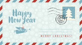 New year envelope with angel, snowflakes and fir. Vector envelope on the theme of Christmas and New year with postage stamp and postmark. Calligraphic royalty free illustration