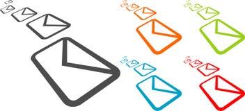 Vector envelopes. Vector flying envelopes on white background stock illustration