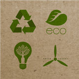 Vector environmental ecological icons on cardboard background Royalty Free Stock Photos