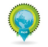 Vector environmental emblem with the globe in it Stock Image