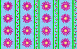 Vector Eps 10 Blue Wallpaper with Pink Flowers  Royalty Free Stock Photography