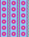 Vector Eps 10 Blue Wallpaper with Pink Flowers and Royalty Free Stock Photo
