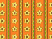 Vector Eps 10 Oranje Behang met Gele Bloemen Stock Fotografie