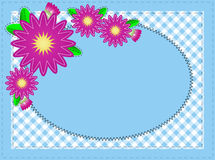 Vector Eps 10 Oval Blue Copy Space, with Stitching. Vector eps10, Oval blue copy space with pink zinnia or mums, edged with polka dots and accent quilt stitching Stock Photos