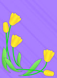 Vector Eps 10 Purple Copy Space with Yellow Tulips. Vector eps10  Purple copy space with a border of yellow tulips accented with quilting stitches Stock Image