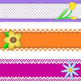 Vector Eps 10, Three Banners with Flowers and Copy. Vector eps10.  Three banners or borders of stripes, polka dots, or gingham with flowers, accent quilt Royalty Free Stock Photography