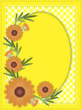 Vector Eps 10 Yellow Oval Copy Space with Gingham. Vector eps10 Yellow oval copy space with gingham and orange flowers border or frame Stock Photos