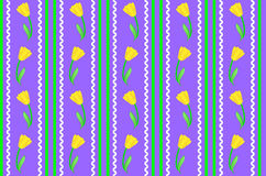 Vector Eps 8 Purple Wallpaper with Yellow Flowers. Vector eps8.  Purple wallpaper background with yellow tulips accented by green stripes, white rick rac and Royalty Free Stock Image