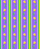 Vector Eps 8 Striped Purple Wallpaper Pattern with. Vector eps 8, Striped purple wallpaper pattern with yellow tulips, accent stitching and ric rac Stock Photos